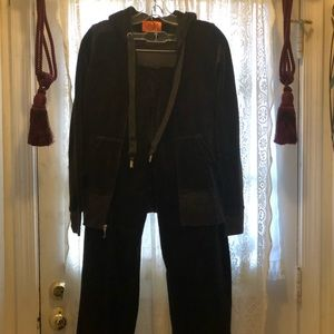JUICY COUTURE-2PC BROWN VELVET WARM UP PANTSET